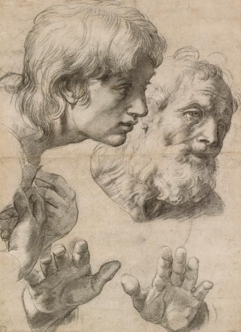 Raffael Kopf- und Handstudie, 1519-20 Ashmolean Museum, Oxford © Ashmolean Museum, University of Oxford